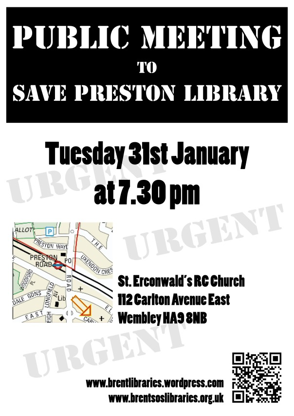 poster announcing a public meeting for Preston Library on 31 Jan 2012