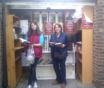 Spanish supporters browse the shelves of the temporary Preston Community Library